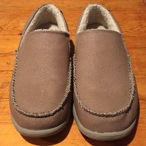 Men's crocs brown loafers.